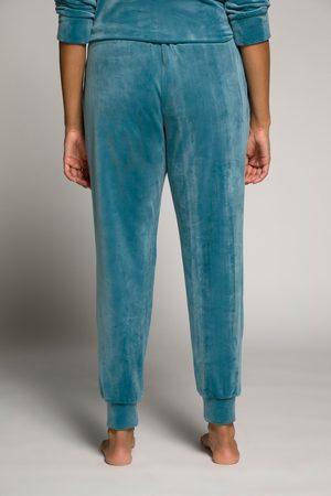 Ulla Popken Donna Loungewear - Pantaloni da casa in Nicki con laccetto e orli elastici