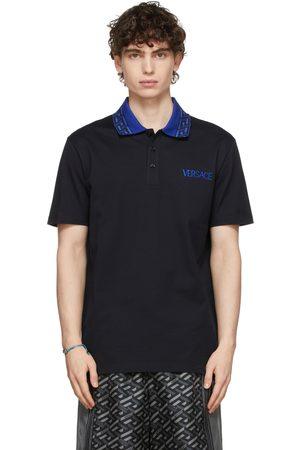 VERSACE Navy Monogram Collar Polo