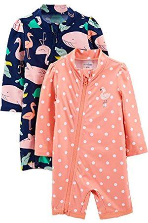 Simple Joys by Carter's Bambina Costumi interi - 2-Pack 1-Piece Zip Rashguards Costume Intero, Amici di Mare/Punti, 3-6 Mesi