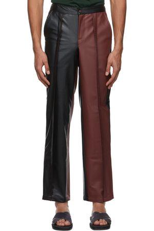 Bloke Burgundy & Black Faux-Leather Topstitch Trousers
