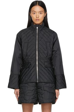 Ganni Black Quilted Recycled Ripstop Jacket