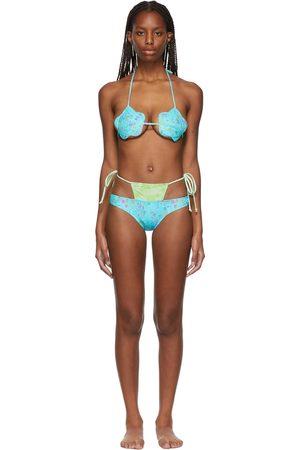 Collina Strada SSENSE Exclusive Blue Flower G-String Bikini