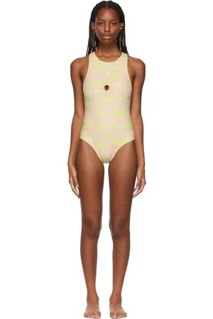 Collina Strada SSENSE Exclusive Yellow Flower Racer Back One-Piece Swimsuit
