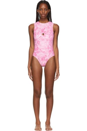 Collina Strada SSENSE Exclusive Pink Flower Open Back One-Piece Swimsuit