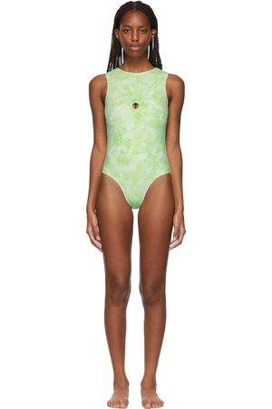 Collina Strada SSENSE Exclusive Green Flower Open Back One-Piece Swimsuit