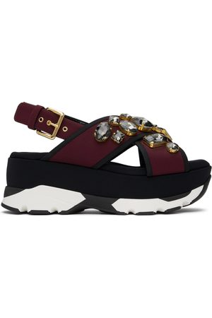 Marni Burgundy Stones Wedge Sandals