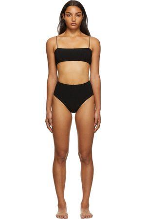 Totême Black Smocked Bikini Set