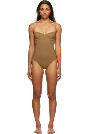 Totême Brown One-Piece Bra Swimsuit