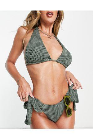 ASOS Mix and Match - Slip bikini all'uncinetto kaki con laccetti laterali