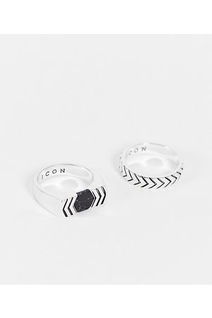 Icon Brand Confezione da 2 anelli con pietre composite nere