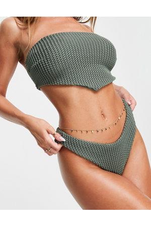 ASOS Slip bikini mix & match kaki all'uncinetto a vita bassa con intaglio a V sul davanti