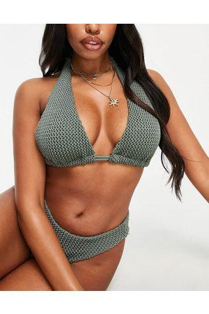 ASOS Coppe Grandi - Mix and Match - Top bikini a triangolo allacciato al collo all'uncinetto kaki