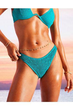 ASOS Slip bikini arricciati e sgambati a vita bassa smeraldo