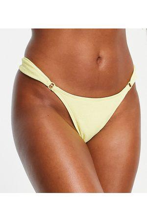 Peek & Beau Coppe Grandi - Slip bikini stropicciato color limone con anello