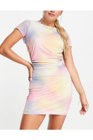 Twiin Vestito corto in rete con schiena scoperta color sirena sfumato