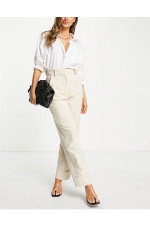 & OTHER STORIES Pantaloni eleganti in poliestere riciclato beige con risvolti-Neutro