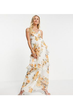 ASOS ASOS DESIGN Maternity - Vestito lungo a canottiera con schiena scoperta e finiture a cerchietti con stampa a fiori