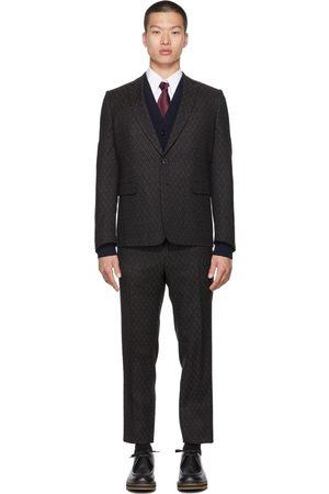 DRIES VAN NOTEN Black Jacquard Wool Suit