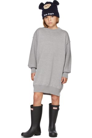 Palm Angels Kids Grey & Multicolor Knit Logo Dress