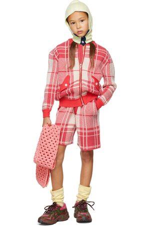 Ligne Noire Kids Pink & Off-White Tartan Bomber Jacket