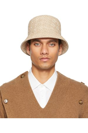 Burberry Beige & White TB Embroidered Bucket Hat