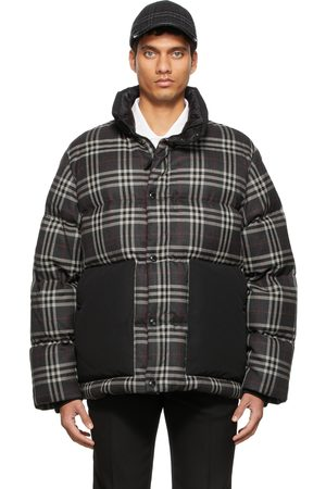 Burberry Gray Check Wool Down Jacket