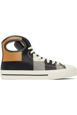 Burberry Black & White Check Porthole High-Top Sneakers