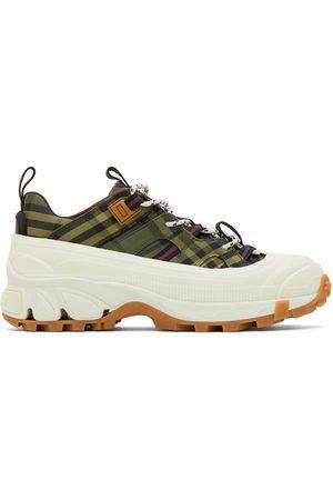 Burberry Green & Burgundy Check Arthur Sneakers