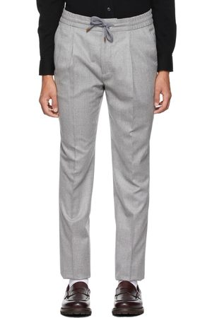 Brunello Cucinelli Grey Wool Pleated Drawstring Trousers