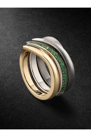 SHAUN LEANE Uomo Anelli - Set of Three 18-Karat Gold, Rhodium-Plated and Tsavorite Rings