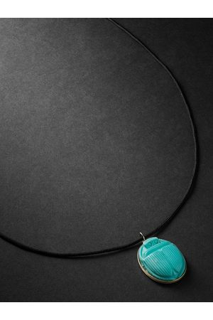 JACQUIE AICHE Gold, Turquoise and Cord Necklace