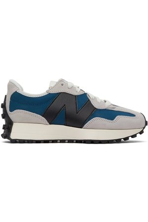 New Balance Grey & Blue 327 Sneakers