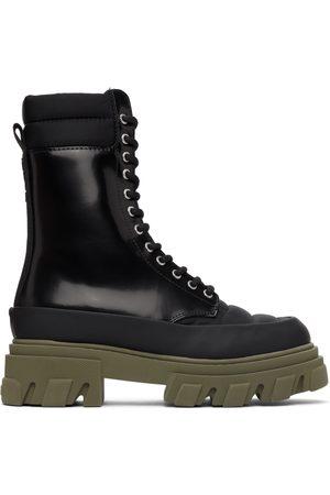 Ganni Black Leather & Tech Combat Boots