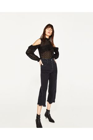 Donna Stringate e mocassini - Zara BLOND LACE CUT-OUT TOP