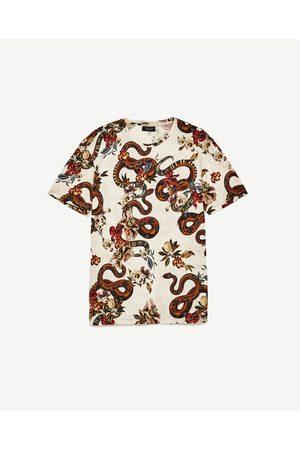 Uomo T-shirts - Zara MAGLIETTA FIORI E SERPENTI - Disponibile in altri colori