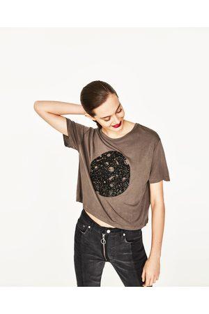 Donna T-shirts - Zara MAGLIETTA CROPPED STAMPATA - Disponibile in altri colori