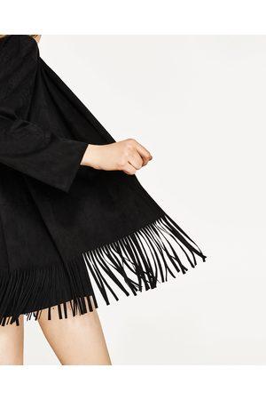 Donna Giacche di pelle - Zara GIACCA SCAMOSCIATA FRANGE