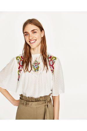 Donna Camicie - Zara CAMICIA PLUMETIS RICAMO FLOREALE