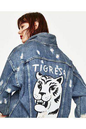 Donna Giacche di jeans - Zara GIUBBOTTO DENIM OVERSIZE TIGRE