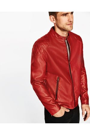 giacca pelle rossa uomo zara