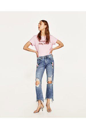 Pantaloni online i Zara prezzi acqusita Donne jeans compara e e Ricamo OPwwBqv5