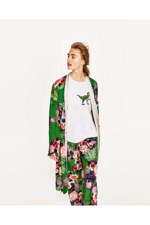 zara giacca a kimono a fiori rossi